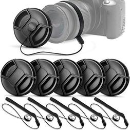 5 Center Pinch Lens Cap  and 5 Cap Keeper Leash for Canon,