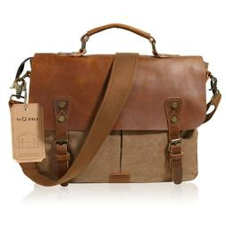 "14"" Messenger Mens Canvas Briefcase Laptop Backpack Large Ca"