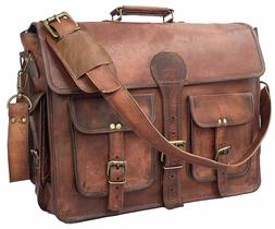 "17"" Leather Vintage Messenger Shoulder Men Satchel Laptop Sc"