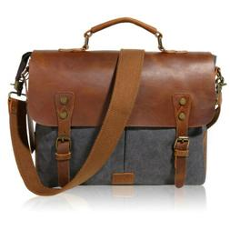 "17"" Men's Messenger Laptop Bag Vintage Canvas Leather Should"