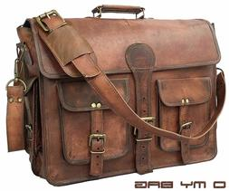 "18"" Briefcase High Quality Genuine Leather Laptop Messenger"