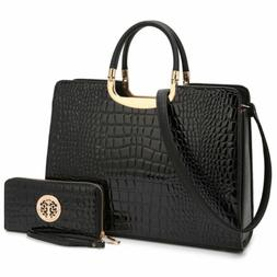 Dasein Womens Chic Handbag Croco Faux Leather Briefcase Satc