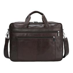 "Luxury Men's Leather 17"" Laptop Satchel Briefcase Luggage Me"