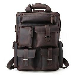 "Men's Real Leather 17"" Laptop Bag Backpack Large Hiking Trav"