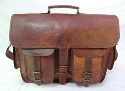 Vintage Leather Office Briefcase 15,6 Inch Laptop Satchel Me