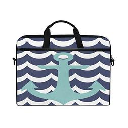 ALAZA Anchor Navy Blue White Wave 15 inch Laptop Case Should