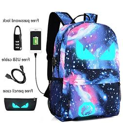 Anime Luminous Backpack Noctilucent School Bags Daypack USB