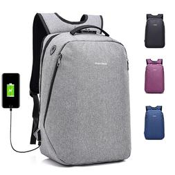 Anti-Theft Men Women Travel Backpack External USB Charge Por