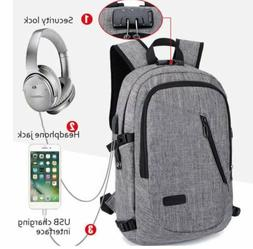 Anti-theft Mens USB w/ Charger Port Backpack Laptop Notebook