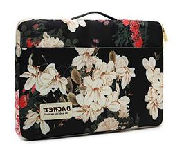 Dachee Black Peony Pattern 13 inch Canvas Laptop Sleeve with