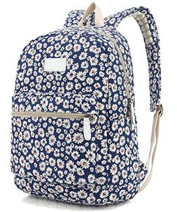 Dachee Blue Chrysanthemum Canvas laptop backpack with Massag