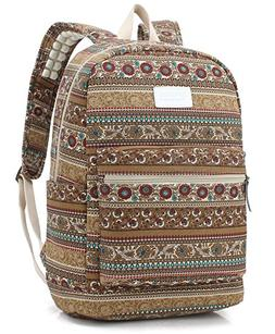 Dachee Bohemian Canvas laptop backpack with Massage Cushion