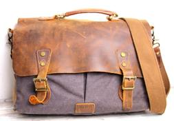 Lifewit BROWN WAX LEATHER GRAY CANVAS FLAP SHOULDER BAG PADD