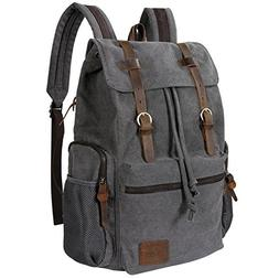 Lifewit 17 inch Canvas Backpack Vintage Leather Laptop Schoo