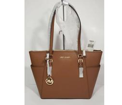 MICHAEL KORS CHARLOTTE LARGE TOP ZIP SAFFIANO LEATHER TOTE B