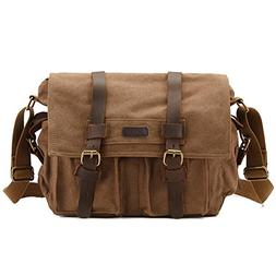 Kattee Unisex's Classic Military Canvas Shoulder Messenger B