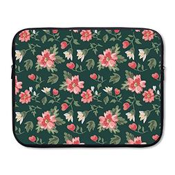 CHERINA RHEA Computer Bag Laptop Case Sleeve Bag Green Flowe