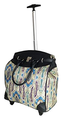 Trendy Flyer Computer/Laptop Rolling Bag 4 Wheel Case Paisle
