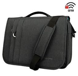Flapover Computer Case Business Shoulder Briefcase with RFID