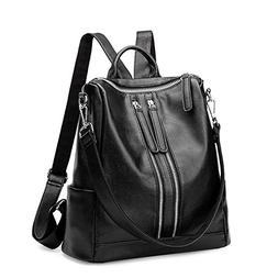 Genuine Leather Backpack for Women/Girls Schoolbag Casual Da