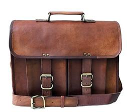 """15"""" genuine leather distressed mens laptop bag leather messe"""