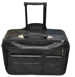 GENUINE LEATHER ROLLING LAPTOP BRIEFCASE TRAVEL BAG MOBILE O
