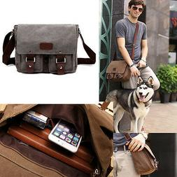 Genuine Leather Vintage Style Schoolbags Briefcase Messenger