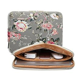 KAYOND Gery Rose Patten canvas Water-resistant 14.1 Inch Lap