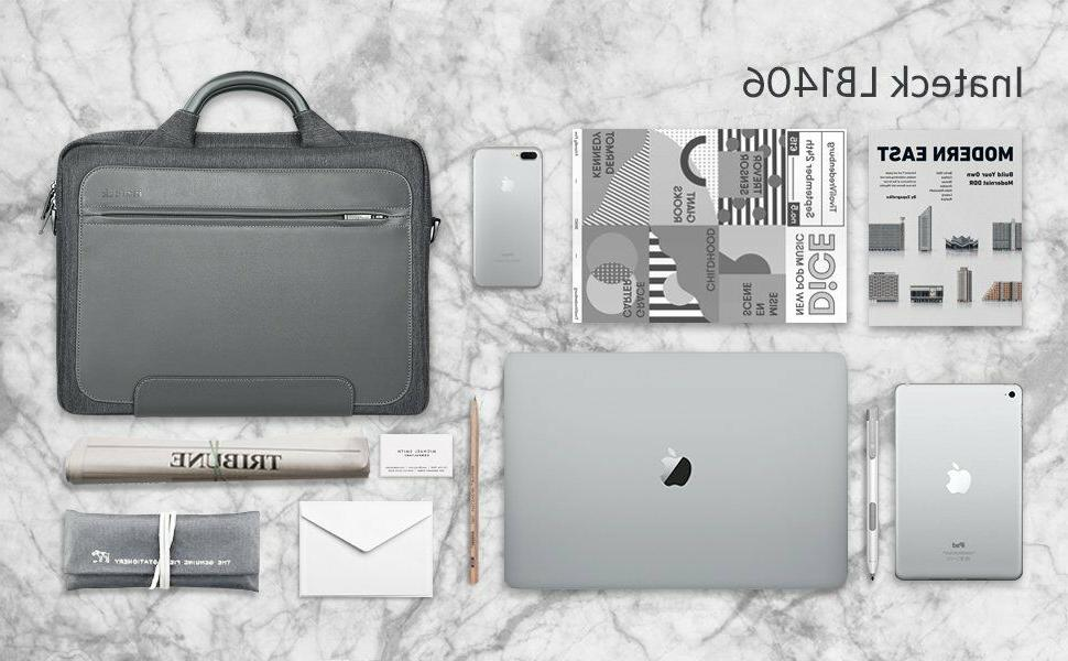 Inateck 14 inch Water Resistant Laptop Bag Leather Messenger Gray