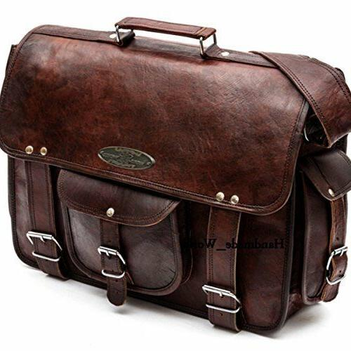 Men & adult Leather Messenger Laptop Bag Computer Distressed