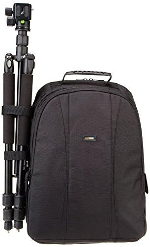 AmazonBasics DSLR and Laptop Backpack Orange interior