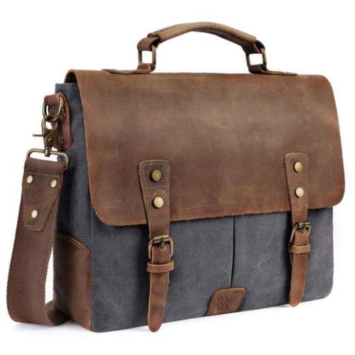 BRINCH Stylish 13.3 inch Laptop Bag Genuine Leather Canvas B
