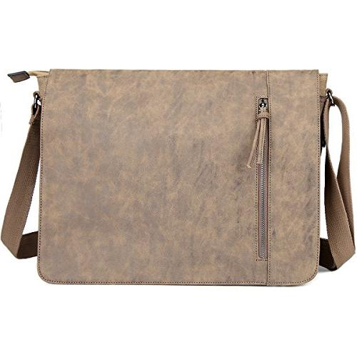 Laptop inch and Women, Tocode Vintage Canvas and PU Mixed Crossbody Bag Tablet Business