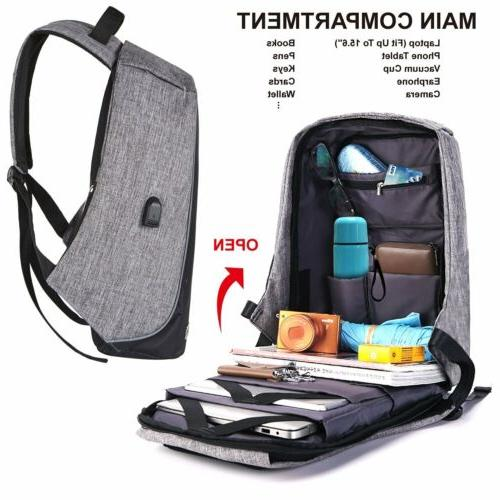 Anti-theft Laptop Notebook Backpack USB Charging Port School