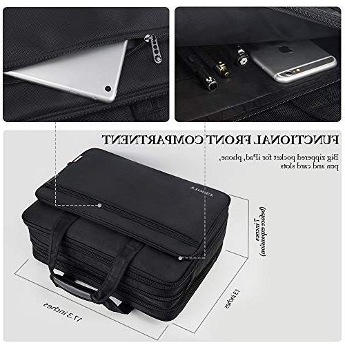 17 inch Laptop Travel Briefcase Organizer, Expandable Large Bag, Water Resisatant Messenger for and 15.6 Inch Computer, Tablet