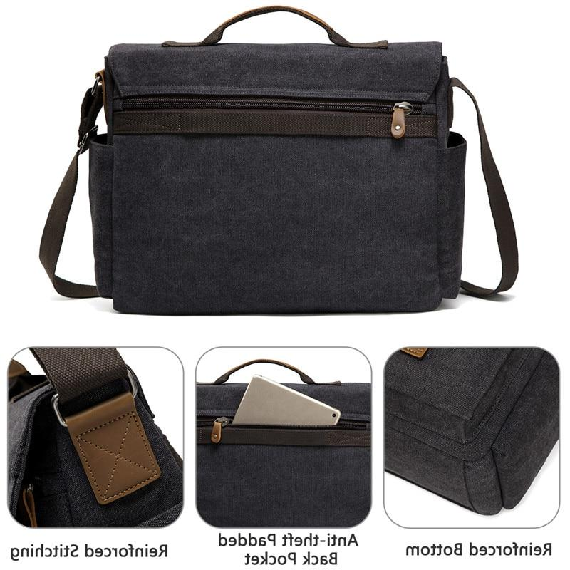 VASCHY <font><b>Bag</b></font> for Men Waxed 15.6 <font><b>Laptop</b></font> Briefcase Shoulder <font><b>Bag</b></font> for Men