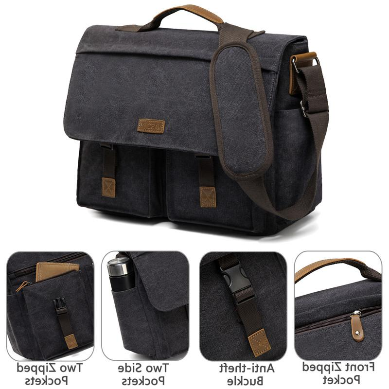 VASCHY <font><b>Messenger</b></font> <font><b>Bag</b></font> Men Water Waxed Canvas <font><b>Laptop</b></font> Briefcase Padded Shoulder <font><b>Bag</b></font>