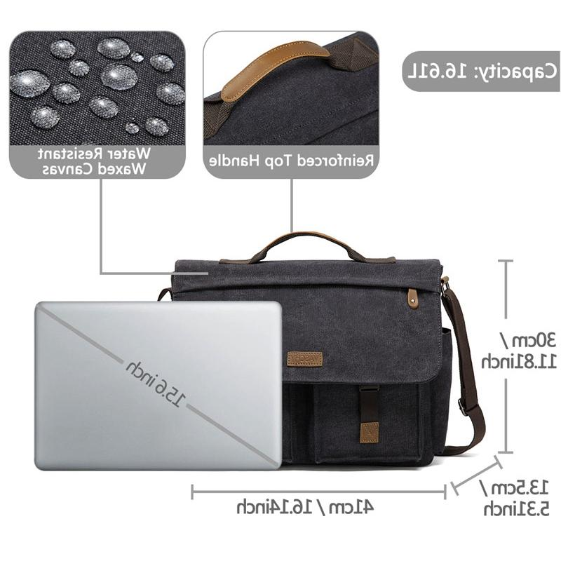 VASCHY <font><b>Bag</b></font> Men Vintage Waxed Canvas <font><b>Laptop</b></font> <font><b>Bag</b></font> for