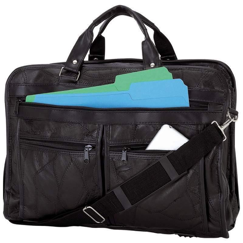 genuine leather briefcase features outside