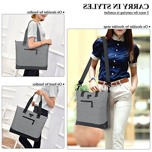 Ladies Bag,DTBG Stylish Large Laptop Shoulder Bag Tote Purse Office Messenger Briefcase Travel with Strap Up to Computer,Grey