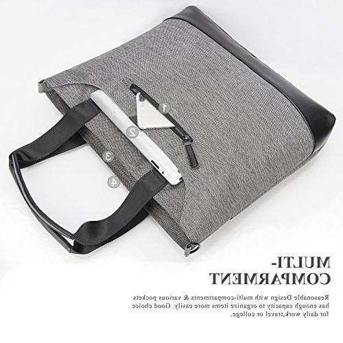 Ladies Laptop Stylish Laptop Shoulder Bag Work Tote Purse Messenger Briefcase Shopping with for Up to 15.6 Laptop Computer,Grey