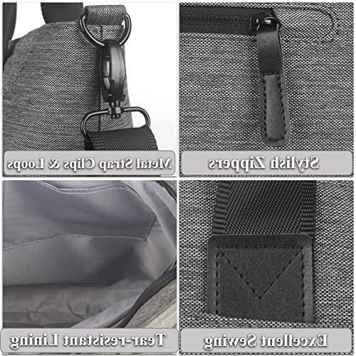 Ladies Stylish Large Laptop Shoulder Bag Tote Purse Briefcase with Strap for to 15.6 Inch Computer,Grey
