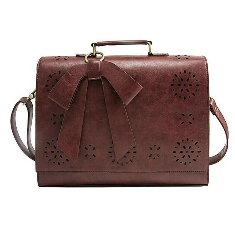 ladies pu leather laptop bag briefcase crossbody
