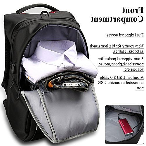 17.3 Inch with USB Port,DTBG Water-Resistant Laptop College Travel Hiking Knapsack For - Inches Laptop Notebook Computer,Black