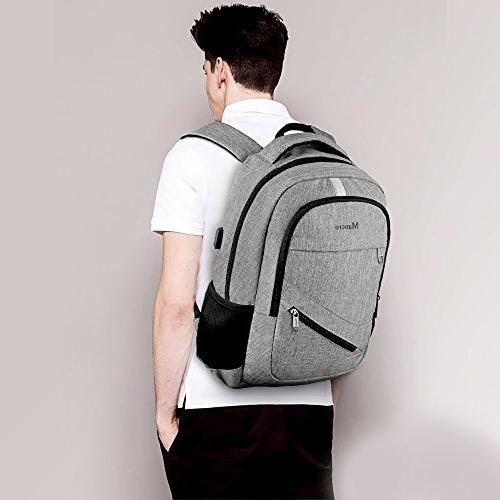 Business Laptop Backpack,Mancro Slim Backpack Port Theft Durable with RFID Resistant Bag Fits Inch Laptops Grey