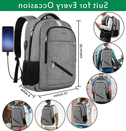 Business Backpack with USB Port for Anti Theft Durable Resistant College Bag 15.6 Inch Laptops Grey