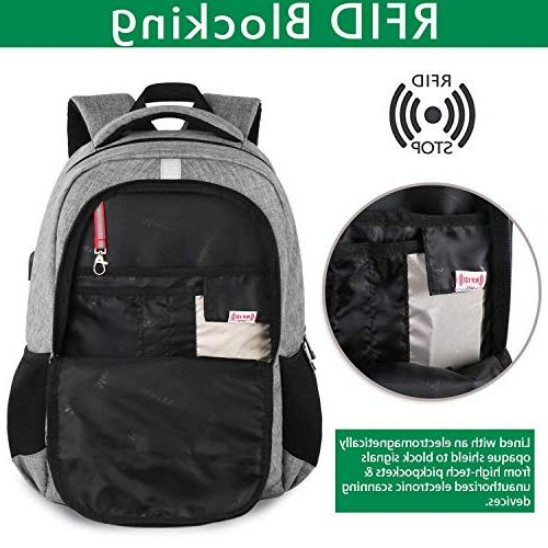 Business Slim Backpack with USB Port for Men, Anti Theft Durable Travel Bag with Bag Fits Laptops -