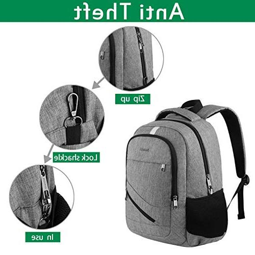 Business Backpack,Mancro Slim Backpack Charging Theft Resistant College Bag Fits 15.6 Laptops - Grey