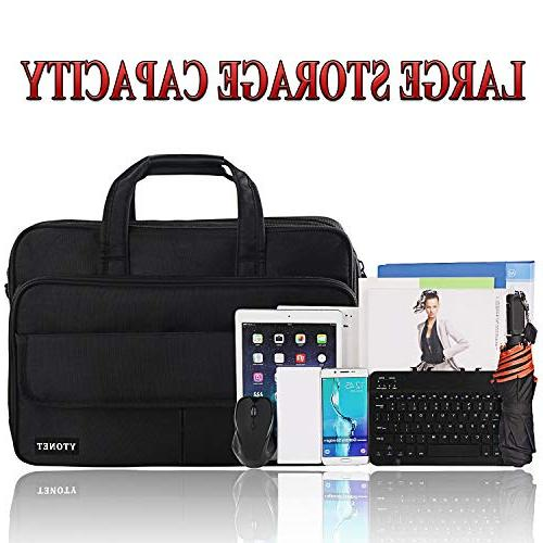 Mens Briefcase, Laptop Expandable Capacity Bag for Women & Nylon Fabric Shoulder Water Resistant Messenger Bag 15.6 in Black