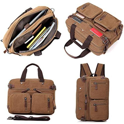 Clean Vintage Hybrid Backpack Briefcase for Men Women- BookBag Daypack-Waxed Canvas Leather,